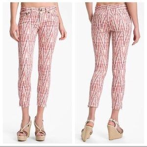 Free People chevron zip ankle skinny jeans 30 red